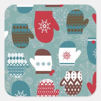Cozy Winter Christmas Mittens Blue Square Sticker