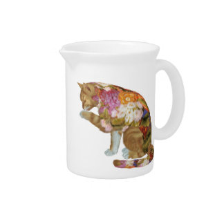 Cozy Yellow Kitty Cat Beverage Pitcher