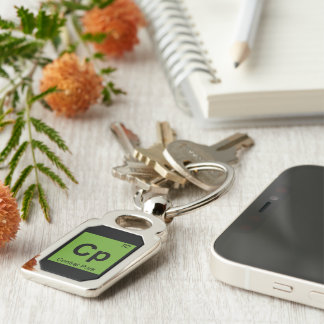 Cp - Central Park New York City Chemistry Symbol Silver-Colored Rectangular Metal Keychain