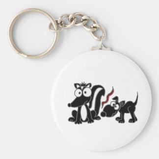 CP- Dog Sniffing Skunk Butt Cartoon Basic Round Button Keychain
