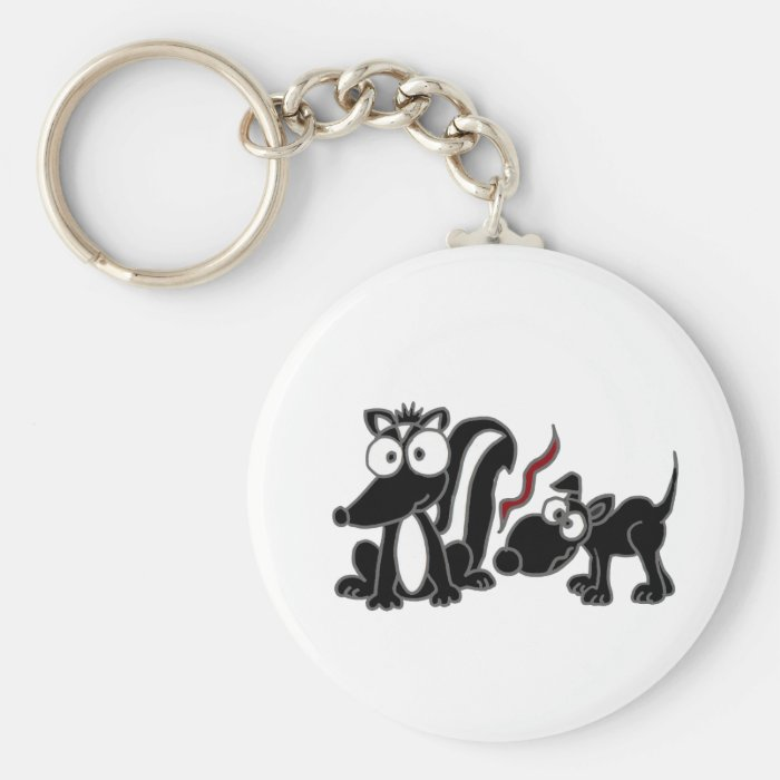 CP- Dog Sniffing Skunk Butt Cartoon Keychain