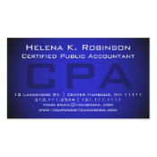 CPA Certified Public Accountant Striking Blue Double-Sided Standard Business Cards (Pack Of 100)