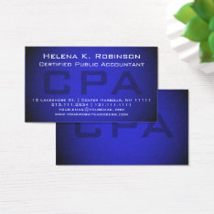 Cpa Certified Public Accountant Striking Blue Business Card at Zazzle