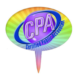 CPA ORB SWOOSH LOGO CERTIFIED PUBLIC ACCOUNTANT CAKE TOPPER