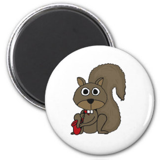 CQ- Funny Squirrel Playing the Saxophone Magnet