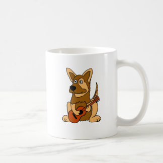CQ- German Shepherd Puppy Playing Guitar Cartoon Coffee Mug