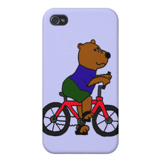 CR- Bear Bicycling Cartoon Cases For iPhone 4