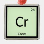Cr - Crew Sports Chemistry Periodic Table Symbol Square Metal Christmas Ornament
