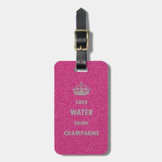 Cr femenino fresco hermoso del champán de la bebid etiqueta de equipaje
