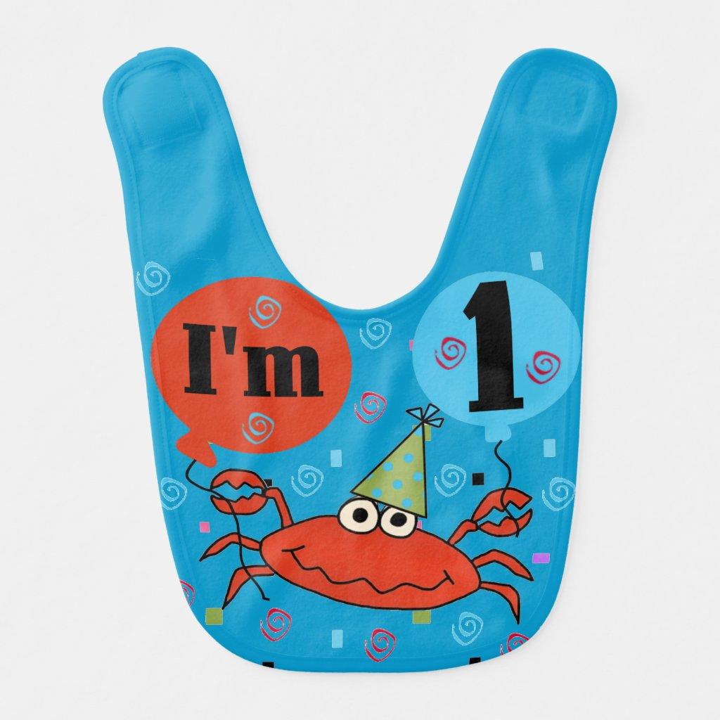Crab 1st Birthday Bib