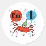 Crab 1st Birthday Round Sticker