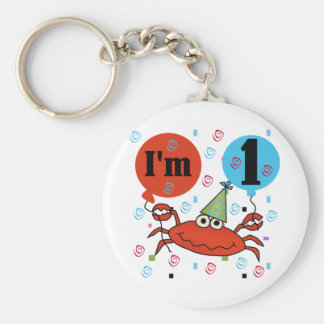 Crab 1st Birthday Tshirts and Gfits Basic Round Button Keychain