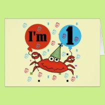 Crab 1st Birthday Tshirts and Gfits Card