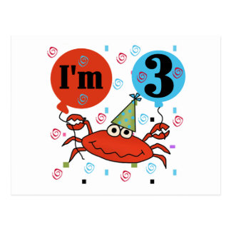 Crab 3rd Birthday Tshirts and Gifts Postcard