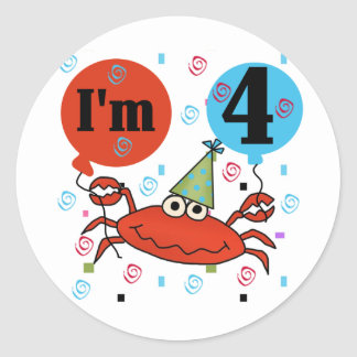 Crab 4th Birthday Tshirts and Gifts Classic Round Sticker