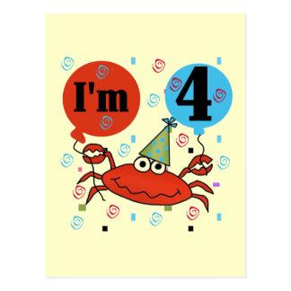 Crab 4th Birthday Tshirts and Gifts Postcard
