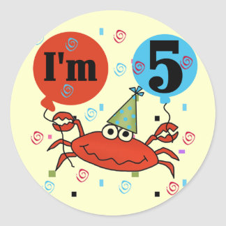 Crab 5th Birthday Tshirts and Gifts Classic Round Sticker