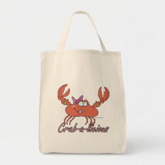 crab-a-licious cute girl crab cartoon canvas bag