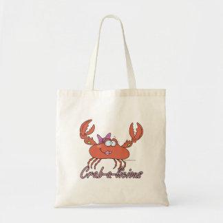 crab-a-licious cute girl crab cartoon tote bag