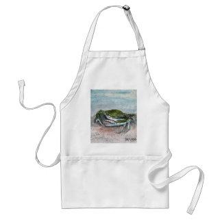 crab acrylic sea life beach square  blue painting adult apron
