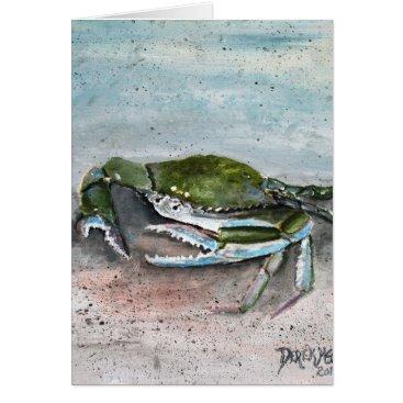 Beach Themed crab acrylic sea life beach square  blue painting card