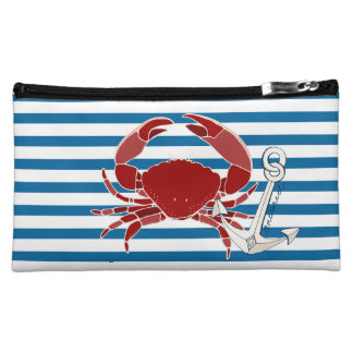 Crab and Anchor Blue and White Horizontal Stripe Cosmetic Bag