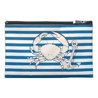 Crab and Anchor Blue and White Horizontal Stripe Travel Accessory Bag
