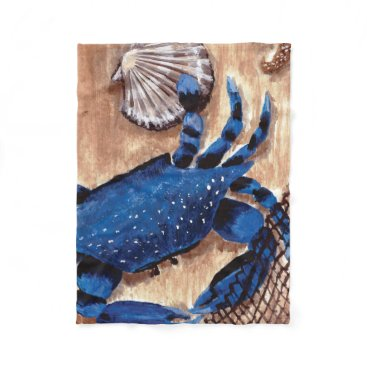 Beach Themed Crab and Scallop Fleece Blanket