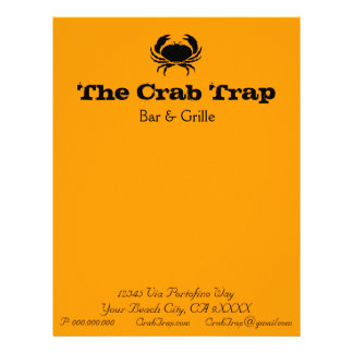 Crab and Seafood Restaurants stationery template