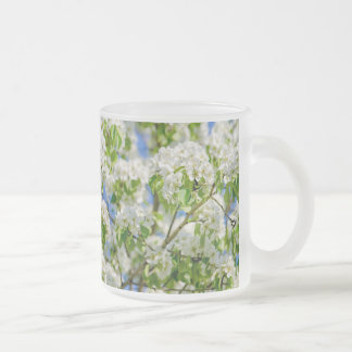 Crab apple blossom frosted glass coffee mug