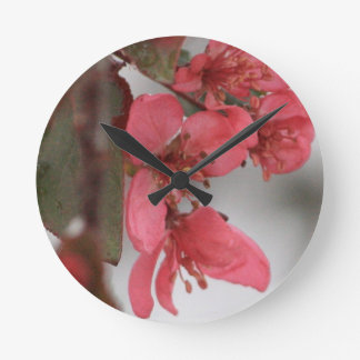 Crab Apple Blossoms Round Clock