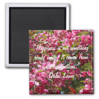 Crab Apple Flowers with Dalai Lama Quote 2 Inch Square Magnet
