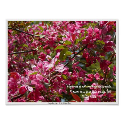 Crab Apple Flowers with Dalai Lama Quote Poster
