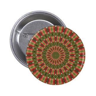 crab apple kaleidoscope red, green abstract pinback button