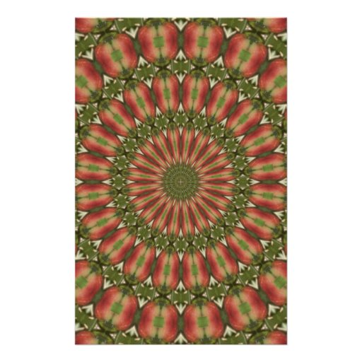 crab apple kaleidoscope red, green abstract stationery