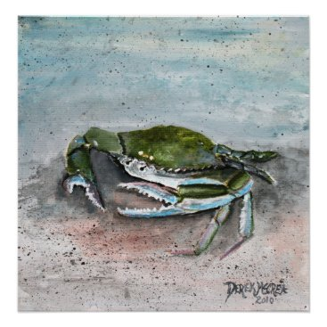 Beach Themed crab baby blue beach square modern art painting poster