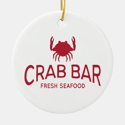 Crab Bar Fresh Seafood Logo Christmas Tree Ornament
