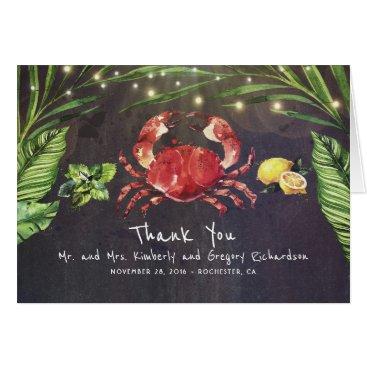Beach Themed Crab Beach Palm Lights Tropical Thank You Card