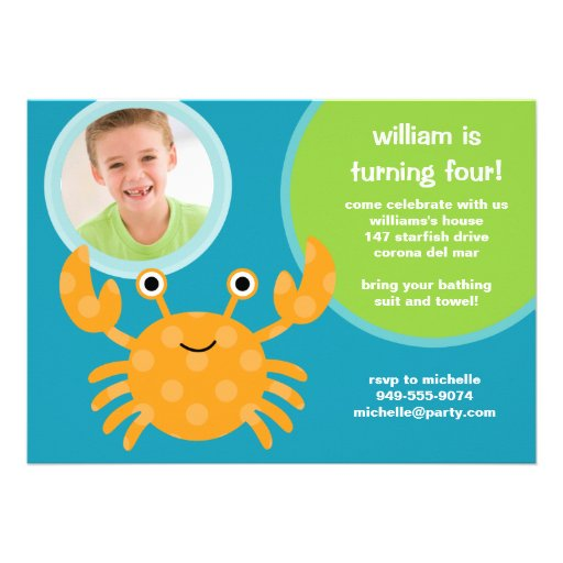 Crab Birthday Party Invitation