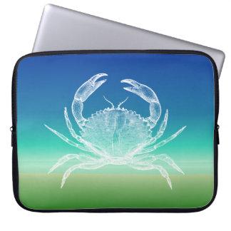Crab Blue Green Seascape Laptop Sleeve