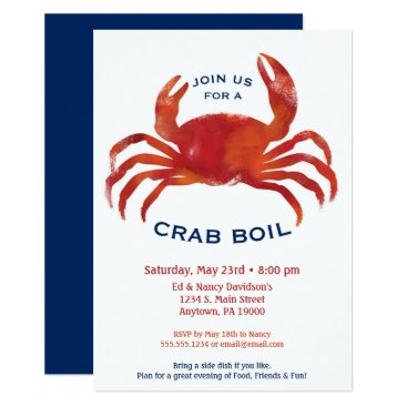 Beach Themed Crab Boil Invitation Low Country Seafood Dinner