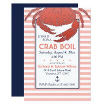 Crab Boil | Navy/Coral Striped Custom Invitation