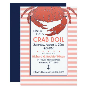 Beach Themed Crab Boil | Navy/Coral Striped Custom Invitation