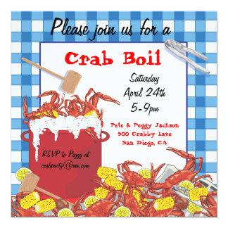 """Crab Boil party invitation 5.25"""" Square Invitation Card"""