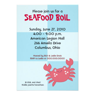 CRAB BOIL Seafood Party 5x7 Birthday Baby Shower Invitations