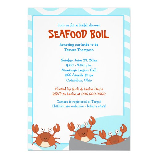 """CRAB BOIL Seafood Party Bridal Shower Invitation 5"""" X 7 ..."""