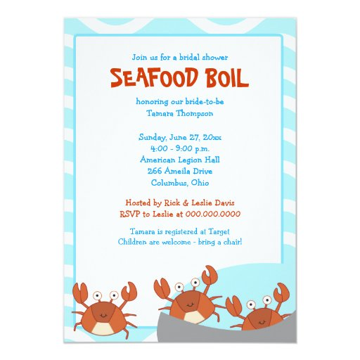 CRAB BOIL Seafood Party Bridal Shower Invitation