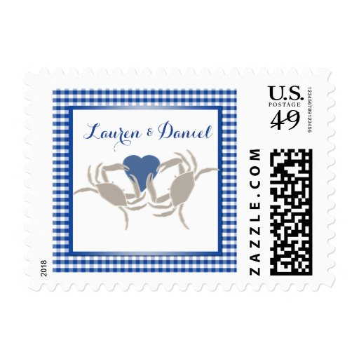 Crab Boil theme in blue and white Stamp