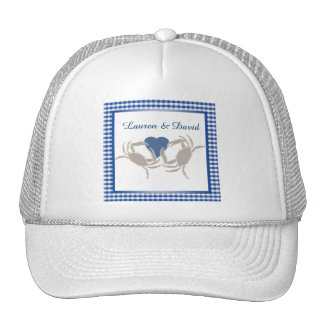 Crab Boil with Blue and White check gingham Trucker Hat