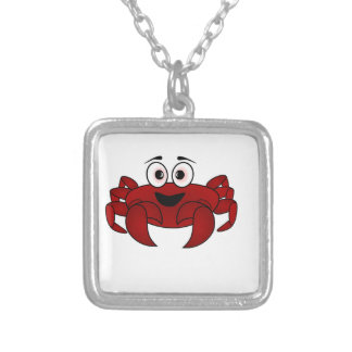 Crab Cartoon Silver Plated Necklace